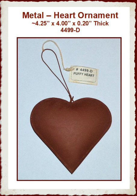 "Metal - Rusty Heart Ornament ~4.25"" x 4.00"" (4499-D)"