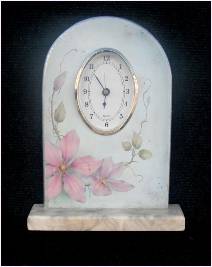 Wood - Clock, Clematis