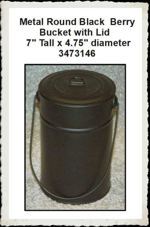 """Metal - Berry Bucket with Metal Lid & 7"""" x  4.5"""" (3473146)"""