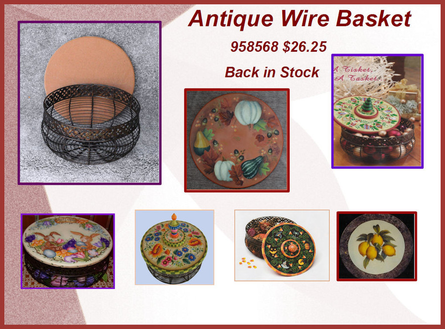 """Antique Wire Basket With Wooden Lid - 10"""" diameter  5"""" high with MDF Lid"""