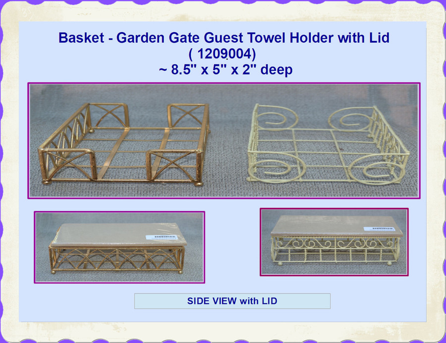 "Basket - Garden Gate Guest Towel Holder with Lid 8.5"" x 5' x 2"" ( 1209004)"