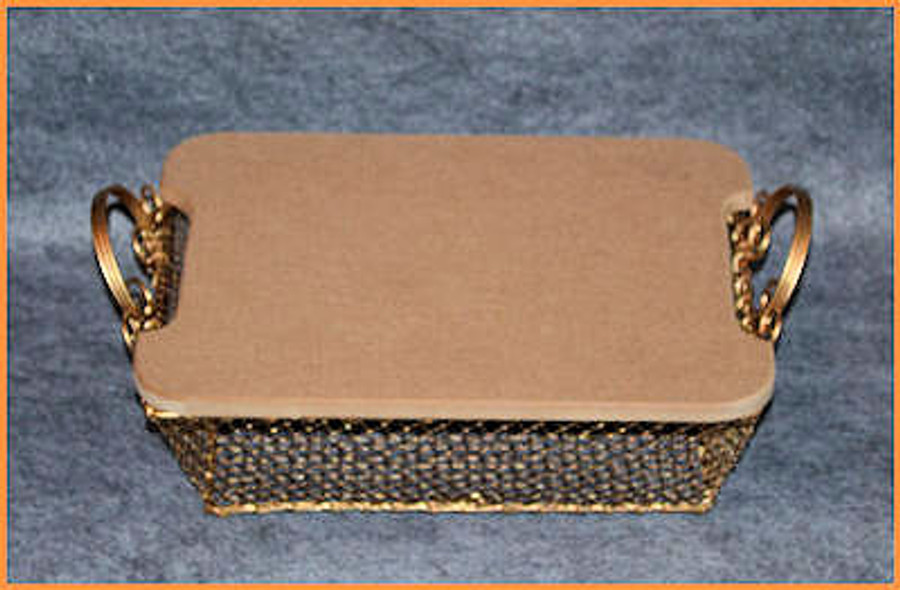 Basket - Gold Wire Rectangular Basket with MDF LID  (773307