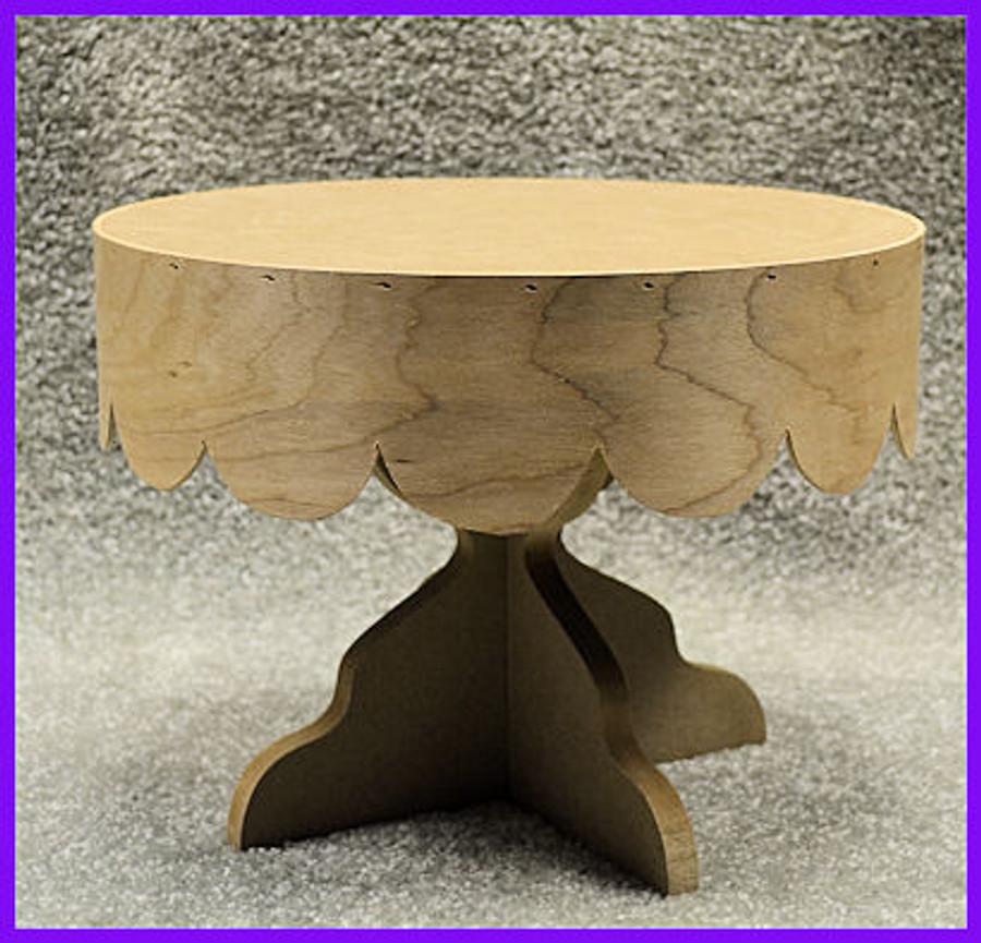 Round Scalloped Wood Cake Plate