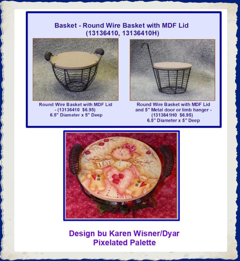 Basket - Round Wire Basket with MDF Lid (13136410, 13136410H)