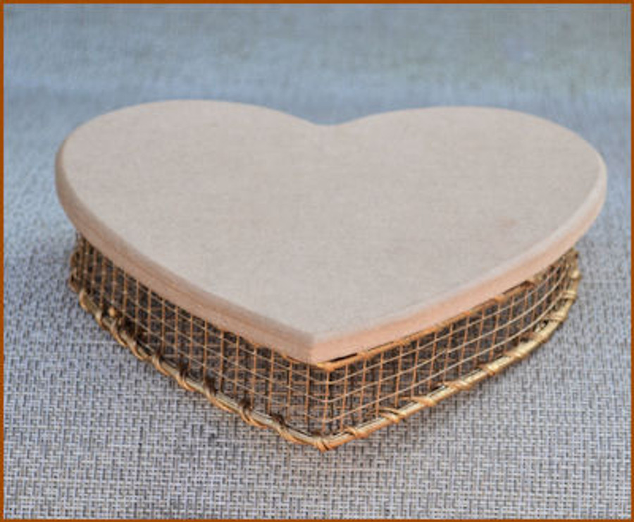 "Basket - Gold Wire Heart W/Lid ~6"" x 6"" x 1"" Deep (118921)"