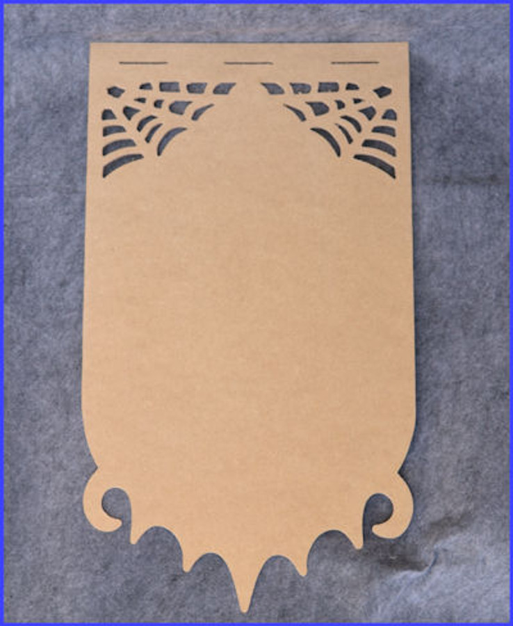 Wood - Spider Web  with Bat on Bottom Banner 192370021