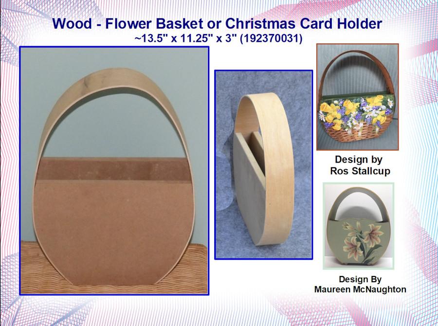 "Wood - Flower Basket or Christmas Card Holder ~13.5"" x 11.25"" x 3"" (192370031)"