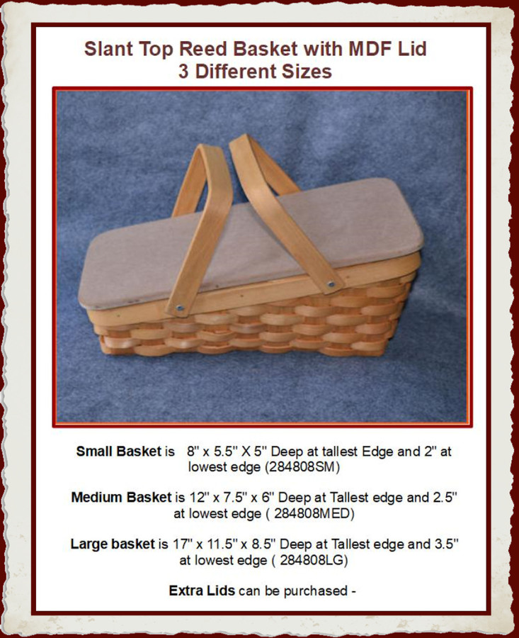 Basket - Slant Top Reed basket with MDF Lid - 3 Sizes (284808SM, 284808MED, 284808LG