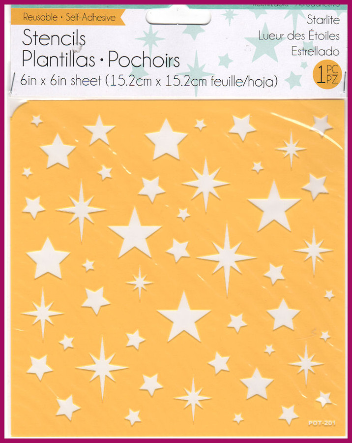 """Starlite Stencul 6"""" x 6"""" Self Adhesive and Reuseable"""