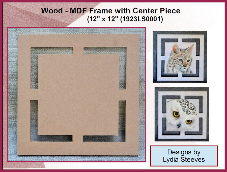"""Wood - MDF Frame with Center Piece 12"""" x 12"""" (1923LS0001)"""