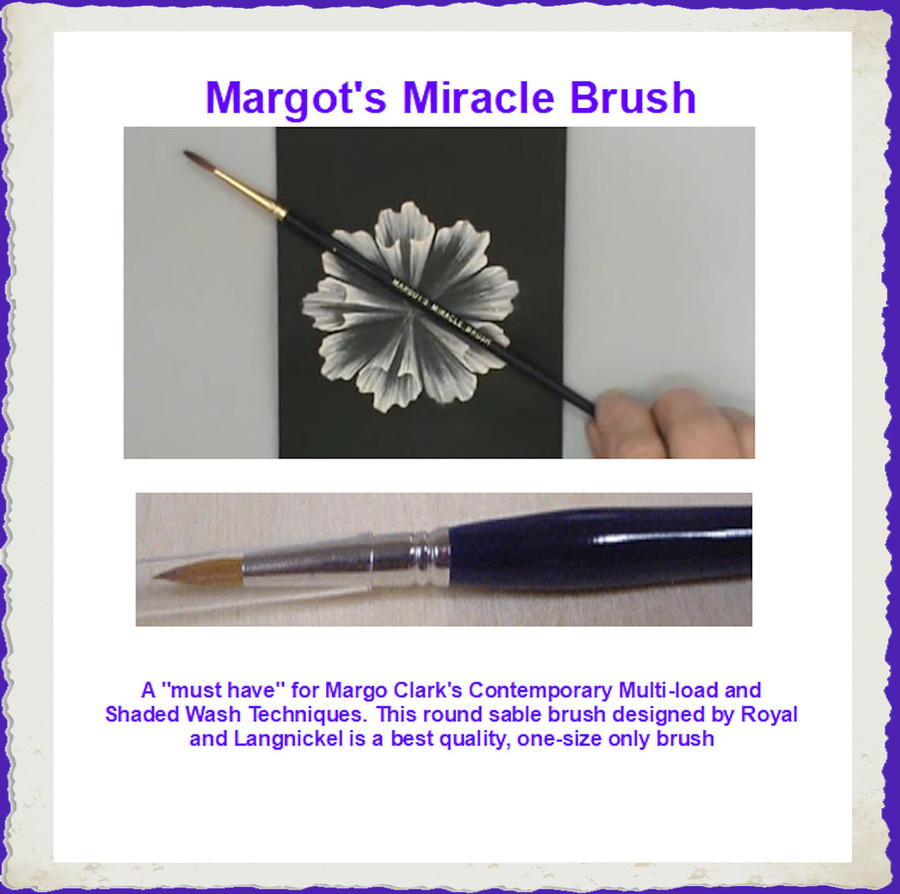 "A ""must have"" for Margo Clark's Contemporary Multi-load and Shaded Wash Techniques. This round sable brush designed by Royal and Langnickel is a best quality, one-size only brush"