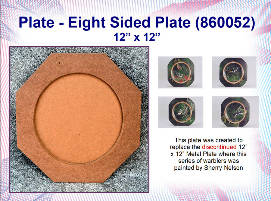 """Plate - Eight Sided  Plate 12"""" x 12""""  (860052)"""