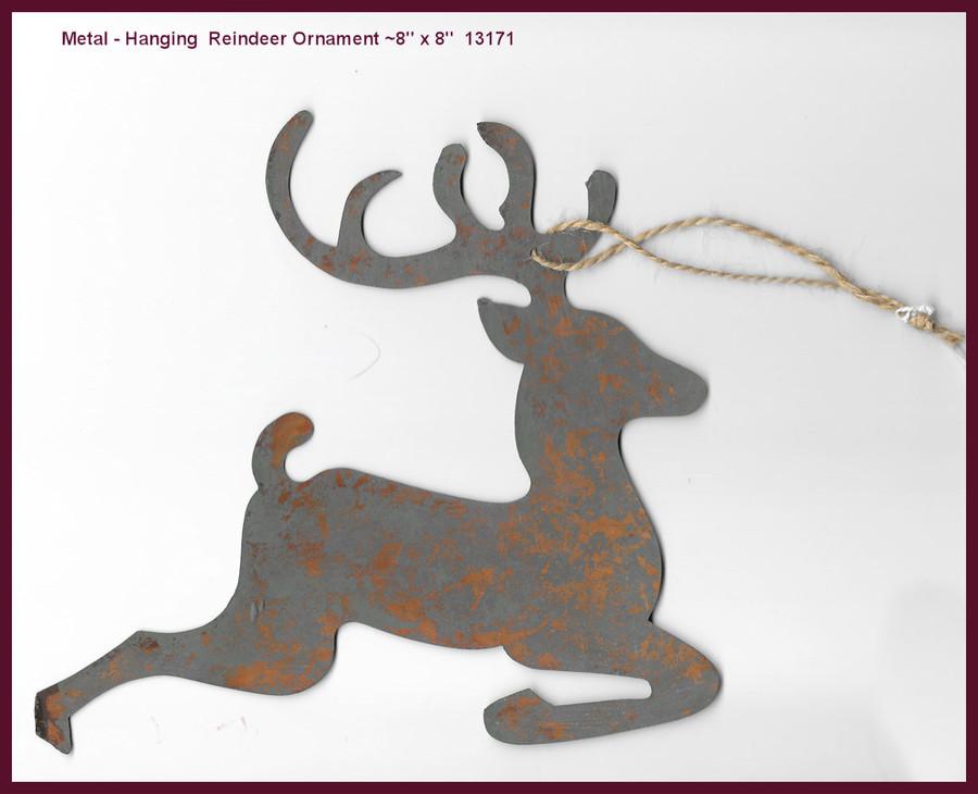 "Metal - Reindeer, Hanging Ornament 8"" x 8""  (13171)"