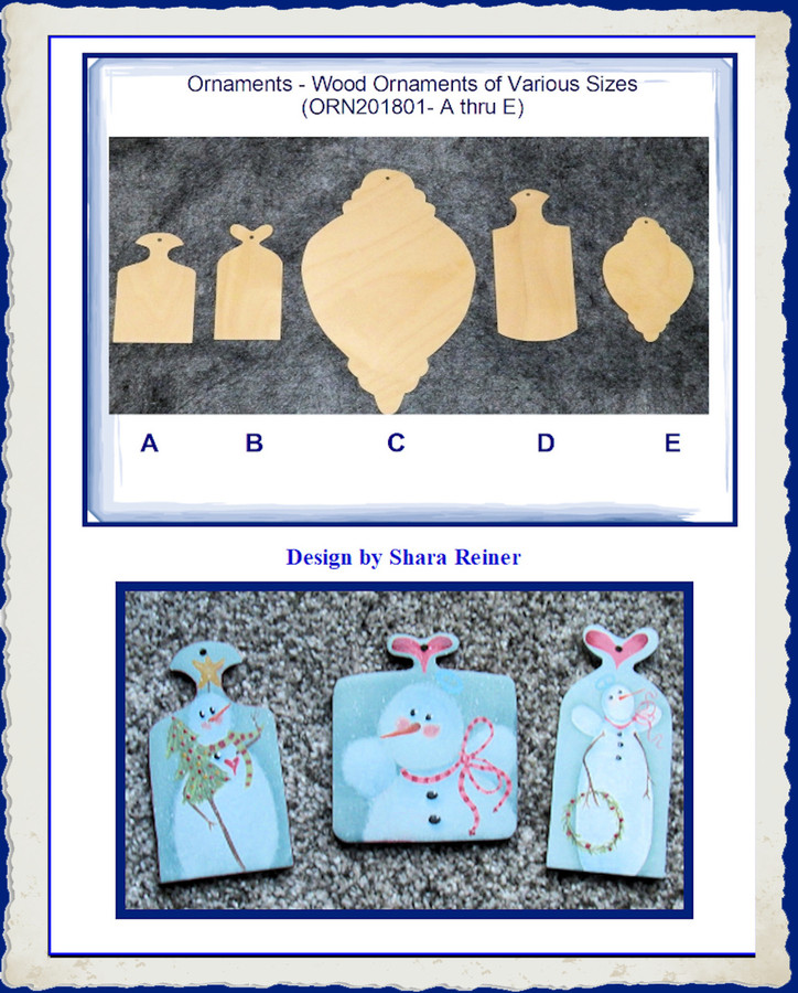 Ornaments - Wood Ornaments of Various Sizes (ORN201801- A thru E)