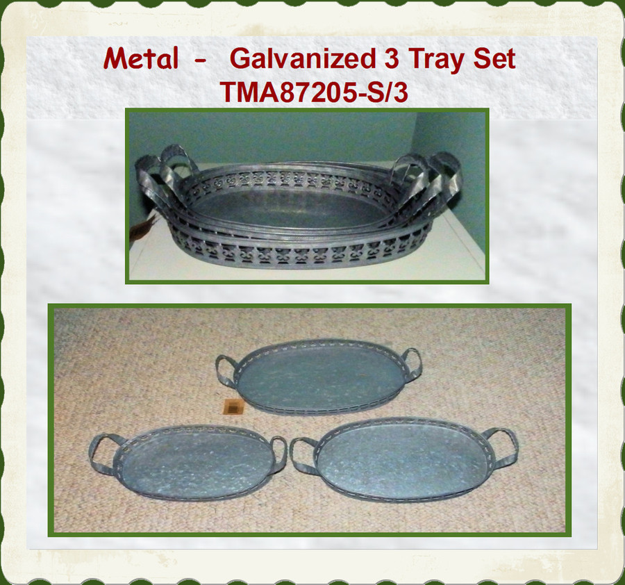 "Tray - 3 Trays Galvanized Tray Set ~ 14.5"" x ~9.75"" (TMA87205-S/3)"