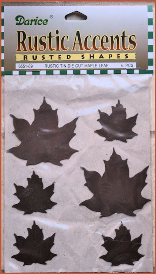 Metal - Rusty Tin Metal Leaf - 6 leaves assortd Sizes (6551-89)
