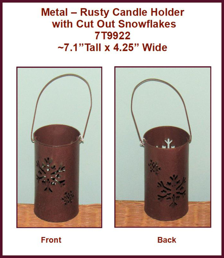 "Metal - Rusty Metal Candle Holder with Cut Out Snowflakes`7"" x 4"" (7T9922)"