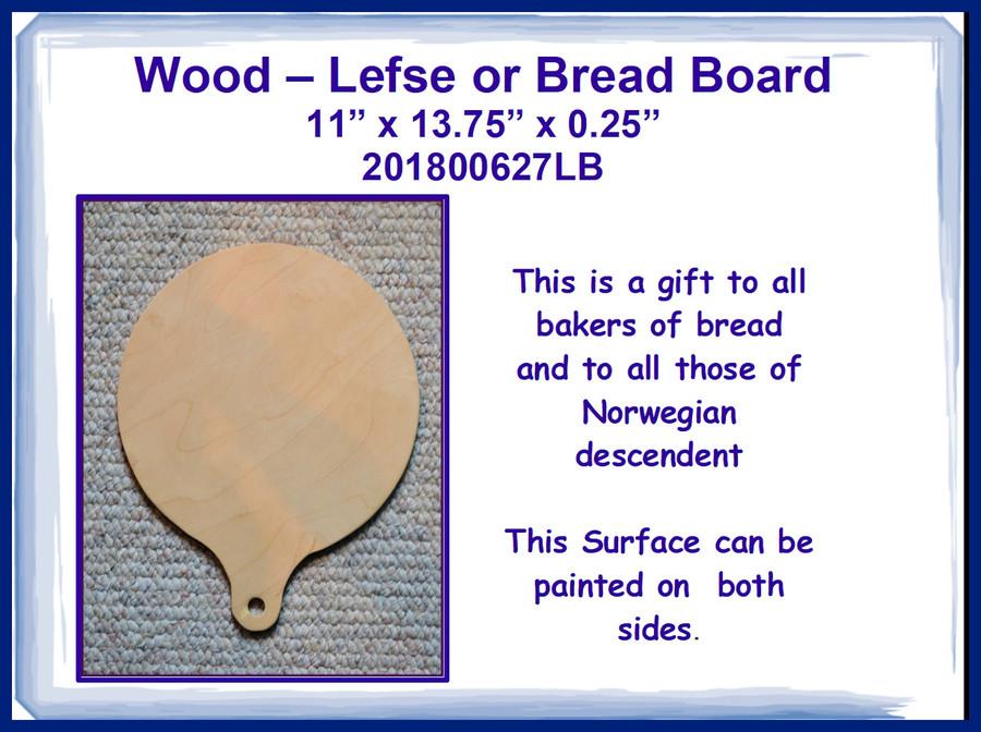 "Wood - Lefse or Bread Board 11"" x 13.75"" (20180627LB)"