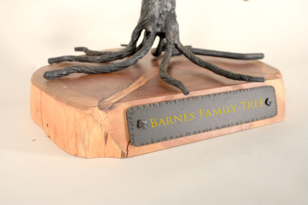 Heirloom Quality Iron Family Tree with Hand Polished Wood Base