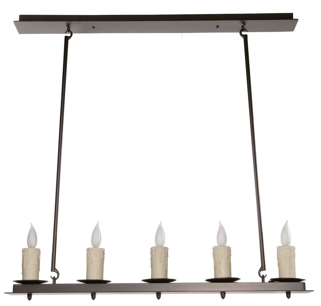 Nova Linear 5 Light Iron Chandelier