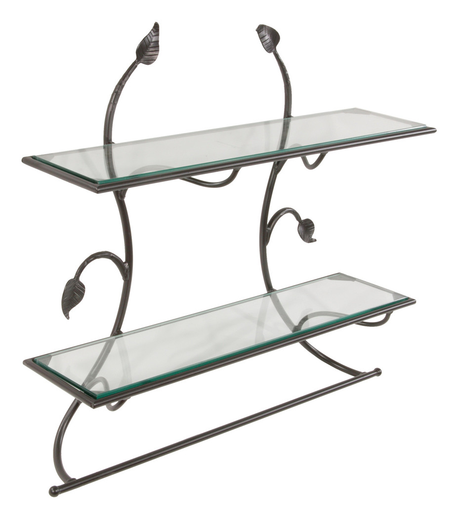 Hand Forged Iron Wall Shelf with Bar - Leaf Collection