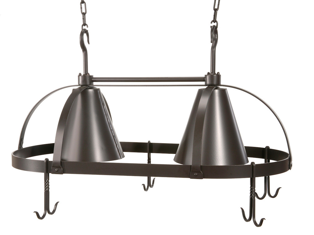 Dutch Oval Iron Lighted Pot Rack with Black Shade