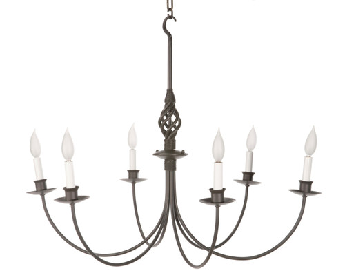 Basketweave 6 Arm Iron Chandelier