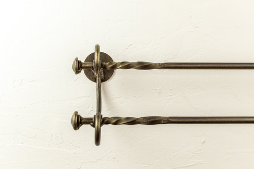 French Country Double Iron Towel Bar  16""