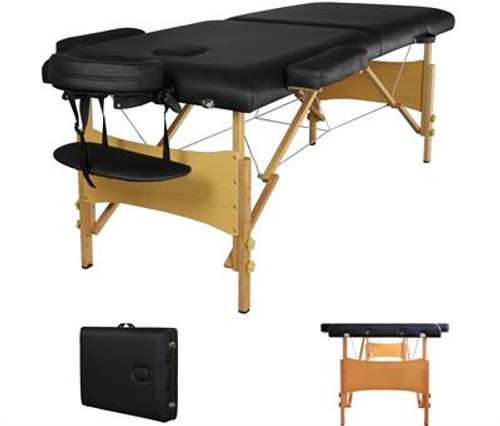 Black Portable Massage Table w/ Free Carry Case- Five Star Rated