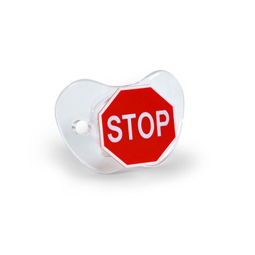 Fred's Chill, Baby  STOP pacifier has a traditional traffic sign motif that tells baby when it's time to STOP. Remember kid, it's the law. PVC- and BPA-free and meets all safety requirements