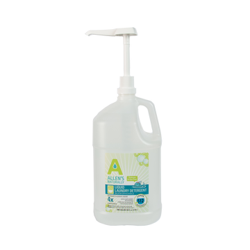 Allen's Naturally dispensing pump will dispense 1/4 oz and 1 oz all-in-one.  Highly recommended for use with HE machine or standard machine.  The pump is $4.95 when purchased in conjunction with the gallon and $5.50 when purchased separately.
