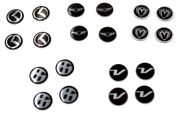 Metal Mini M logo emblems, Metal Mini Kia K logo emblems, Metal Mini Veloster V logo Emblems, Metal Mini Genesis Wing Logo Emblems, Metal Mini Toyota Scion Subaru 86 Emblems Mini 10mm round emblems for valve caps, Mini key fob emblem, Mini door handle emblem, Mini interior emblem, Mini accent emblem