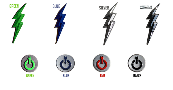 Electric Hybrid Kia Models Emblems Badges Logos Lightening bolt push start button emblem, red green blue black emblems, silver chrome blue green electric bolt emblem