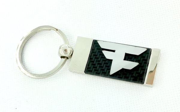 Faze Clan F Logo Chrome / Carbon Optic Metal Key Chain FazeChain