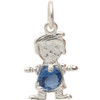 STERLING SILVER BOY BIRTHSTONE PENDANT