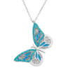 ENAMEL TURQUOISE BUTTERFLY W/TURQUOISE STONES NECKLACE 16+2""