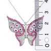 ENAMEL PINK BUTTERFLY W/RED CZ STONE NECKLACE 16+2""