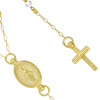 "GOLD PLATED MOONSTONE ROSARY NECKLACE 18"" + 2"""