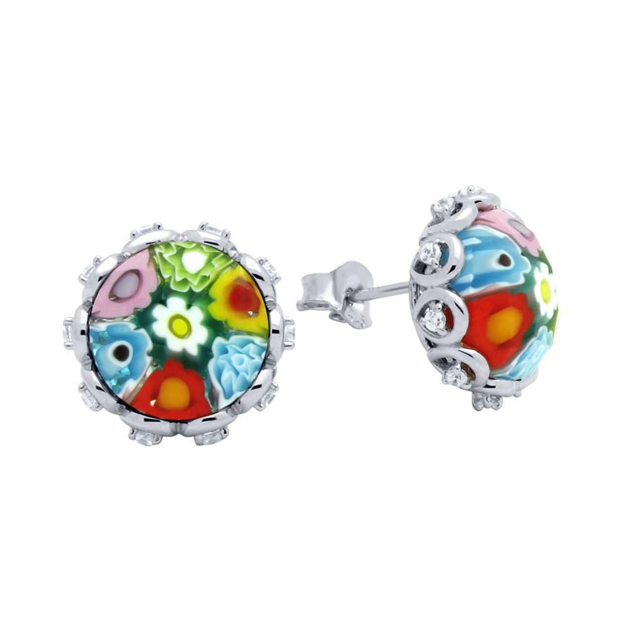 multicolor multi cz with color murano stud round millefiori earrings faceted