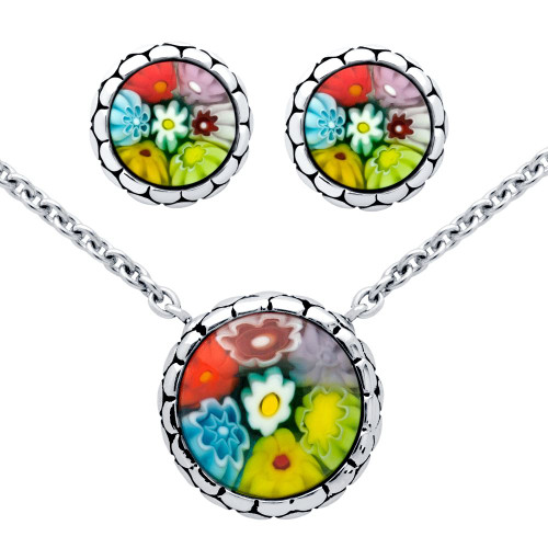 MILLEFIORI SET: MULTI-COLOR ROUND CABOCHON STUD EARRINGS AND NECKLACE