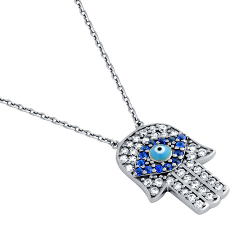 "RHODIUM PLATED CLEAR AND BLUE CZ HAMSA HAND NECKLACE WITH LIGHT BLUE EYE 16""+1"" ADJUSTABLE"