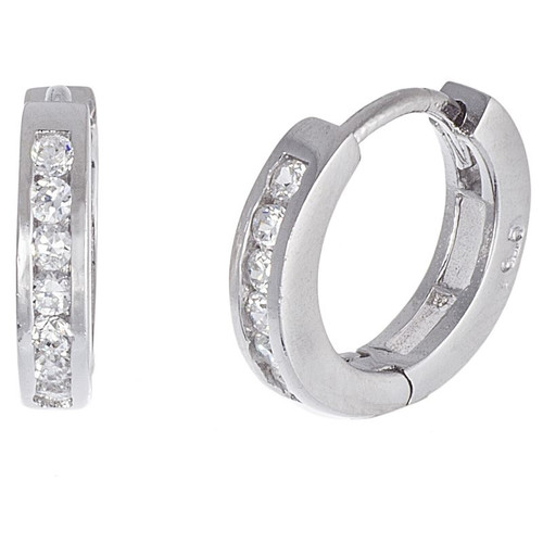 RHODIUM PLATED 13MM HUGGIE EARRINGS WITH 2MM ROUND CZ STONES
