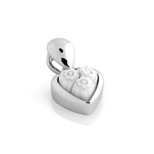 WHITE MURANO MILLEFIORI SMALL HEART PENDANT