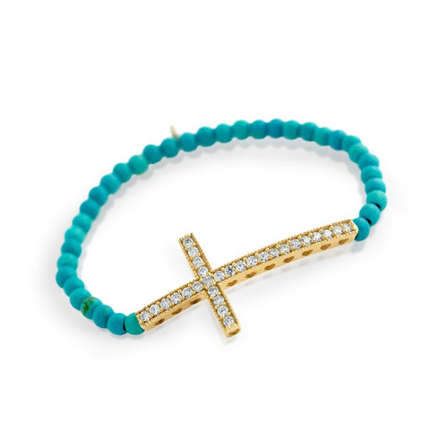 GOLD PLATED LARGE CZ CROSS ON SYNTHETIC TURQUOISE BEAD STRETCH BRACELET