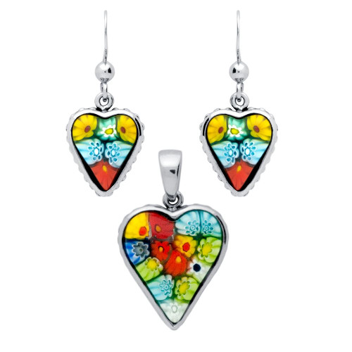 MILLEFIORI SET: MULTI-COLOR HEART SHAPED DANGLING EARRINGS AND PENDANT WITH BEADED DESIGN