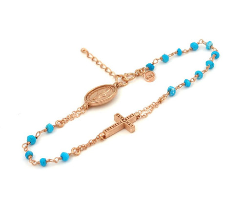 "ROSE GOLD PLATED STERLING SILVER TURQUOISE ROSARY BRACELET 7"" + 1"""