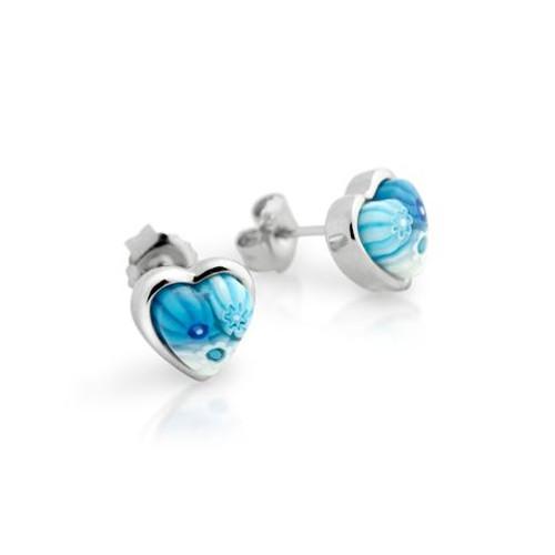 LIGHT BLUE MURANO MILLEFIORI SMALL HEART STUD EARRINGS