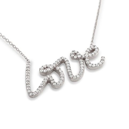 """RHODIUM PLATED CZ LOVE NECKLACE IN 16"""" + 2"""""""