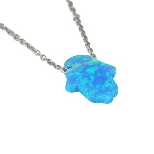"HAMSA SHAPED OPALITE NECKLACE IN RHODIUM 16"" + 2"""