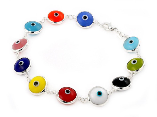 10MM MULTI COLOR GLASS EYE BRACELET 7""